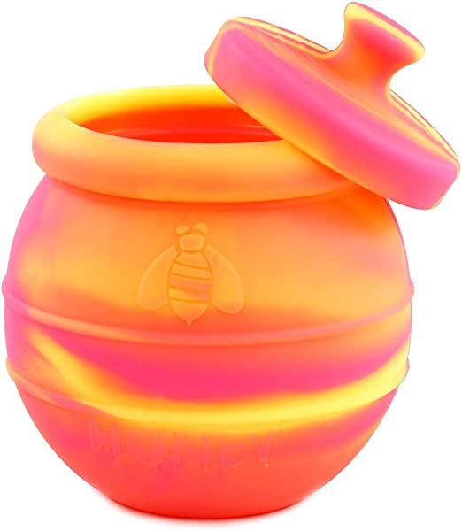 Orange//Blue Honey Jar with Dipper and Lid Cover for Home Kitchen Silicone Storage Pot by X-Value