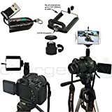 ChargerCity 360º Swivel 1/4-20 Tripod Mount w/Mini Ball Head, Hot Shoe Adapter & Smartphone holder for Apple iphone X 8 7 6s Plus Samsung Galaxy S7 S8 Edge Note LG V30 +Free Micro SD Reader