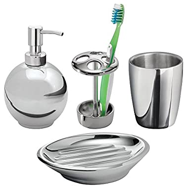mDesign Bath Vanity Accessories Set- 4 Piece, Soap Dispenser, Toothrush Holder, Tumbler, Soap Dish, Polished Stainless Steel
