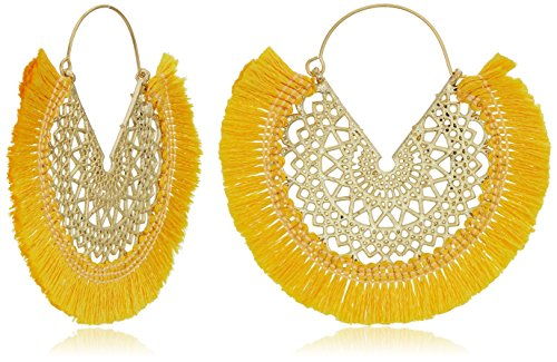 Panacea Women's Yellow Fringe Filagree Hoop Earrings, (Filagree Hoop)