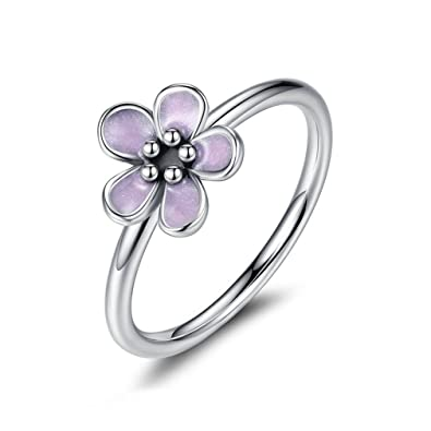 c0cae4532 Image Unavailable. Image not available for. Color: The Kiss Cherry Blossom  925 Sterling Silver Stackable Ring, Pink Enamel