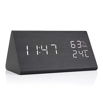 Reloj de Alarma Digital con Retroiluminación Blanca Dígito 3 Niveles Brillo 3 Alarmas Reloj de Alarma de LED de Madera Fecha de Visualización Temperatura y ...