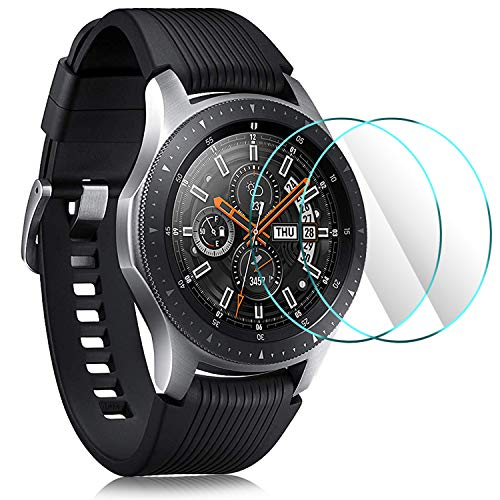 IVSO Samsung Galaxy Watch 2018 Screen Protector, [Scratch-Resistant] [No-Bubble ] 9H Hardness HD Clear Tempered Glass Screen Protector for Samsung Galaxy Watch 2018 46mm SM-R800 Smartwatch(2pcs)