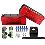 LCLHOME Led Trailer Light Kit, 12V LED Low Profile Submersible Rectangular Trailer Light Kit Tail Stop Turn Running Lights with License Plate Bracket & 4-Pin Wiring