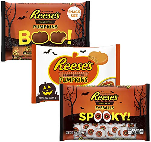(Reeses Peanut Butter Candy - Chocolate & White Chocolate Pumpkin And Eyeballs- Halloween Chocolates Assortment Variety Pack Snack Candies Size, 9.8-10.2)