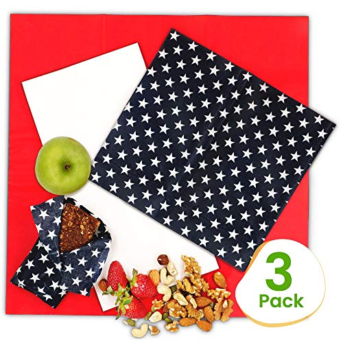 Beeswax Food Wrap Large, Extra Large and Medium - Beeswax Wrap 3 Pack of Unique Sizes - All Organic Ingredients - Washable, Sustainable, Eco Friendly, Plastic Free Storage - Reusable Beeswax Food Wrap