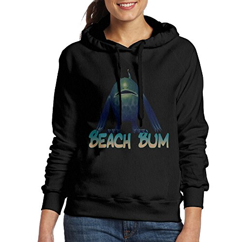 CSECGAR Beach Bum Women's Pullover Hoodie Sweatshirts M Black