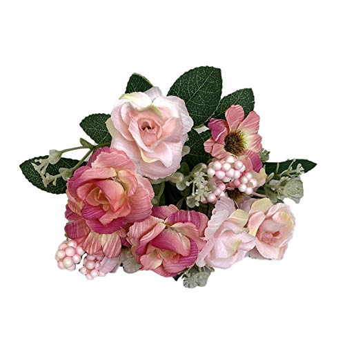 Smorran Small Roses Fake Flower Decoration Floral Artificial Fake Rose Flower Bridal Bouquet Wedding Party Home Decoration