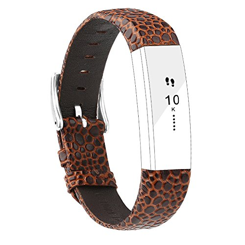 POY Replacement Bands Compatible for Fitbit Alta and Fitbit Alta HR, Genuine Leather Wristbands, Stone Pattern Brown