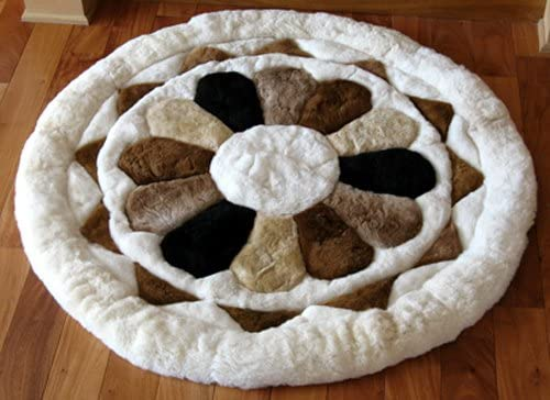 SoftRugs Multicolored Flower Design Round Alpaca Area Rug