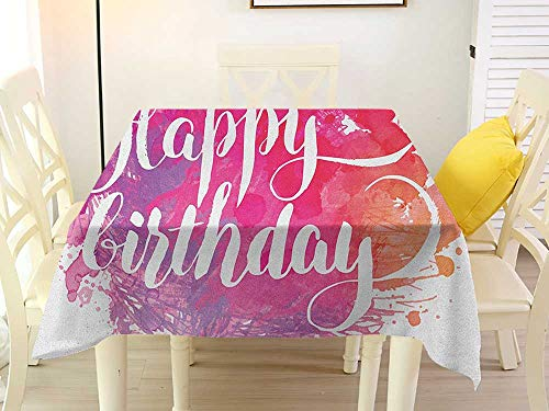 - L'sWOW Square Tablecloth White Party Birthday Abstract Watercolored Splatters Hand Paint Style Artistic Celebratory Text Pink Red Orange Pattern 50 x 50 Inch