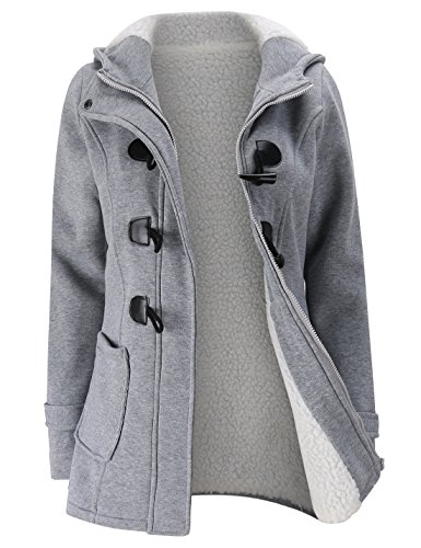 - Gihuo Women's Casual Fleece-Lined Winter Warm Coat Hooded Jacket (Large, Grey)