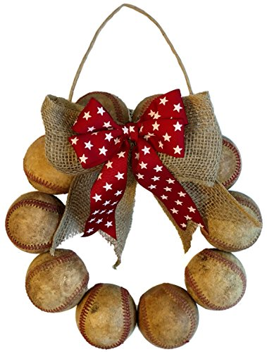 Baseball Accent - Baseball Door Wreath Made with Used Leather Baseballs and Red Bow