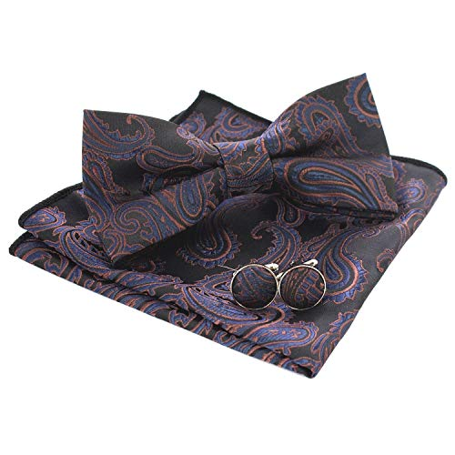 JEMYGINS Mens Navy Brown Paisley Bow Tie and Pocket Square With Cufflinks Set (13) ()