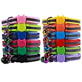 OLRIKE 12 Pack Reflective Cat Collars Safety Quick Release with Bell- Suitable and Adjustable to Fit All Domestic Cats and Larger Kittens