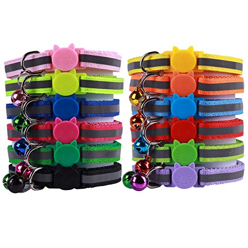 Postecks 12 Pack Reflective Cat Collars with Bell Safety Quick Release, Suitable and Adjustable to Fit All Domestic Cats and Larger Kittens
