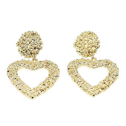 Hollow Geometric Large Square Dangle Earrings Metal Statement Drop Earrings Punk Bohemian Raised Textured Design Big Hoop Earrings for Women Fashion Jewelry (Gold Heart-Shaped Earring)