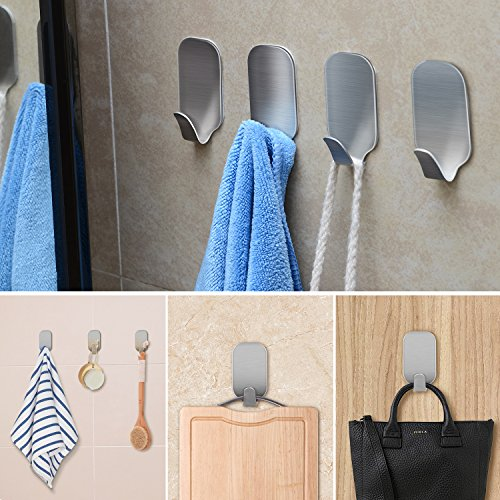 Bestfy Robe/Towel Hook Self Adhesive Hooks, Wall Hooks, Strong Waterproof Hanger (Set of 8) (Supports Closet Water)