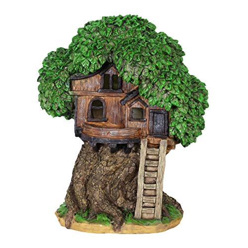 Exhart Thatched Roof Tree House w/Ladder Garden Decor - Fairy Cottage Garden Statue with Solar Powered Lights, Mini Tree House Resin Statue for a Magical Fairy Garden, 9