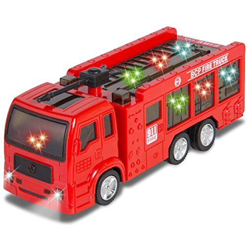 Kids Toy Fire Truck Electric Flashing Lights and Siren Sound Bump and Go Action by CSG Home Service