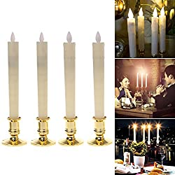 SYlive 2Pc Electric Flickering Flameless Led Candle Lights, with Removable Gold Base for Hotel,Restaurant,Bars Table Light/ Christmas Light