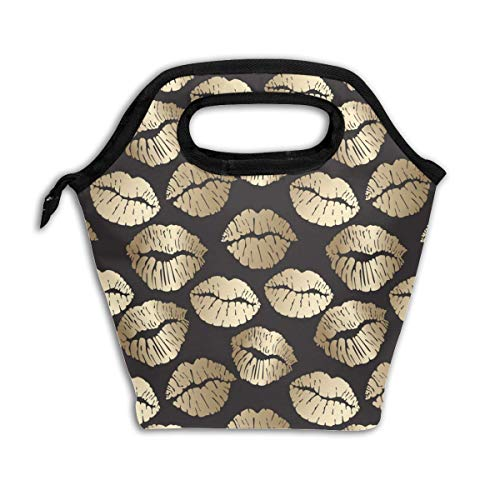 (Lcokin Customized Vintage Golden Lips Insulated Lunch Bag Ice Bag Bag, Personal Handbag Shopping Bag )