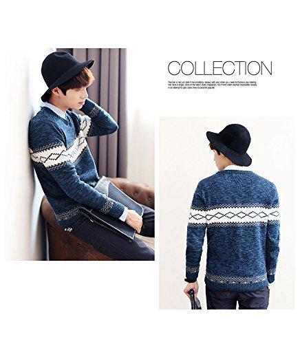Camicetta Knit Maglione Inverno Pullover Slim Autunno Stampa E Minetom Geometrica Blu Uomo Fit Girocollo qUfHnaw7x