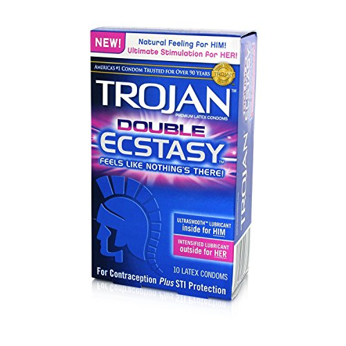 Trojan Double Ecstasy Lubricated Condoms, 10 Count
