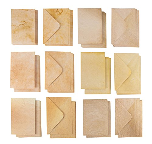 Fold Letter Envelope - 60-Pack Greeting Cards and Envelopes – Aged Style Parchment Paper Envelopes and Half-Fold Note Cards – 6 Vintage Antique Designs, 4 x 6 Inches
