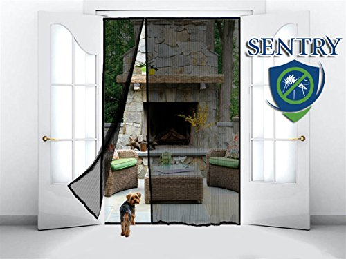 MAGNETIC SCREEN DOOR for French Door, Sliding Patio Door, Double Door - Covers the ENTIRE Door Frame - Offset to One Side to Perfectly Match Your Door Opening - Black (Net Porch For Mosquito)
