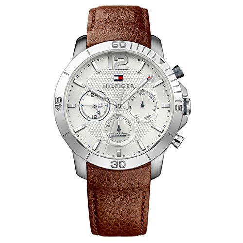 Hilfiger Tommy Watch Multifunction - Tommy Hilfiger Men's Quartz Stainless Steel and Leather Automatic Watch, Color:Brown (Model: 1791270)