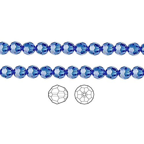 - Swarovski Crystal Beads Sapphire 5000 Faceted Round 4mm Package of 12