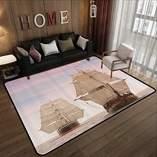 Office Floor mats,Ocean,Sailboat Gaff Top Sail Tall Wooden Sailing Ships Waves Art Print Photo,Cream and Blue Grey 59
