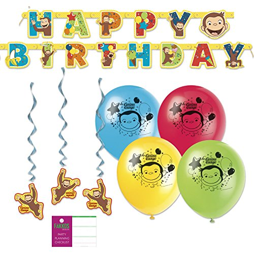 Curious George Party Decorations - Balloons, Banner, Hanging Decor