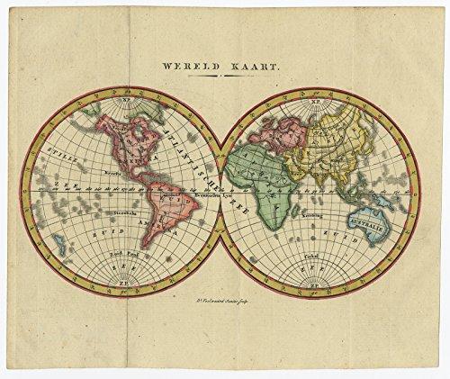 (Antique Print-WORLD MAP-DOUBLE HEMISPHERE-Veelwaard-c. 1840)