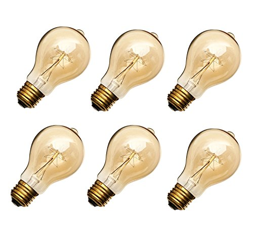 40W Edison Style Light Bulbs A19 23 Filament Warm Light ETL Listed 6 Packs by Unido Box