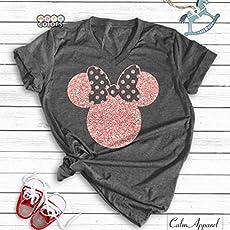 Disney Shirts Minnie Mouse Ear T Shirt Glitter Rose Gold Disneyland Birthday