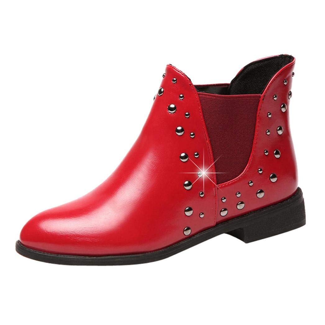 Anxinke Women Stylish PU Leather Rivets Low Heel Ankle Boots (7 B(M) US, Red)