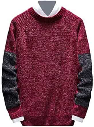 Jmwss QD Mens Hipster Warm Knitting Color Stitching Crewneck Slim Pullover Sweaters