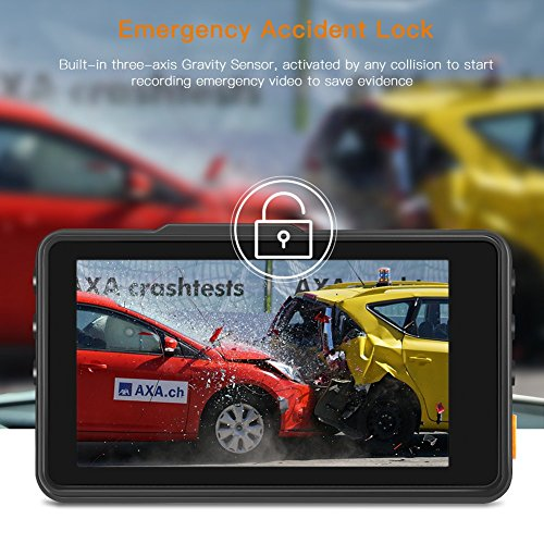 """APEMAN FHD Driving Recorder 3"""" 170°Wide Angle, WDR, Parking Monitor, Loop Recording, Motion"""
