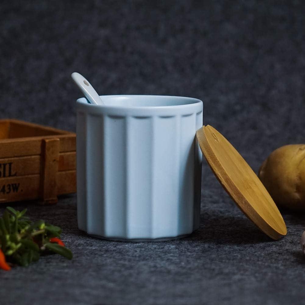 color blanco azucarero de cer/ámica con cuchara de az/úcar y tapa de bamb/ú para el hogar y la cocina dise/ño elegante 9 oz 270 ml Azucarero azul