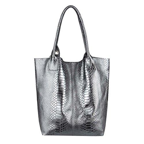 OBC Only-Beautiful-Couture, Borsa a spalla donna Lila 42x35x16 ca.: 42x35x16 cm (BxHxT) grigio scuro (di serpente)