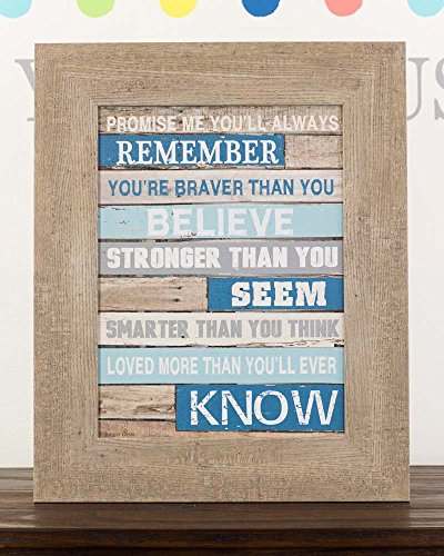 Promise Me You'll Always Remember Pooh Nursery Blue Blocking Barnwood Grey Look Framed Art Decor 16x20