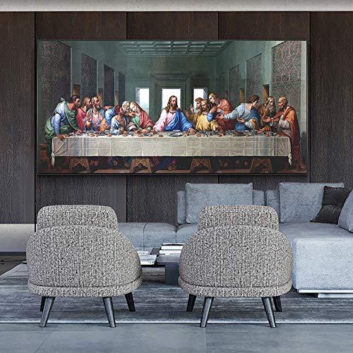 UIOLK Carteles artisticos de la ultima Cena de Leonardo da Vinci y Pinturas en Lienzo en la Pared, Famoso Arte de Jesus, Cuadro de Pared, decoracion del hogar