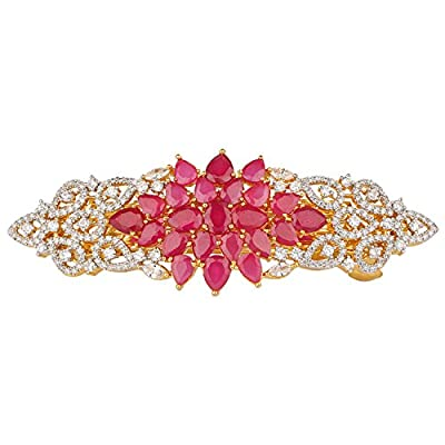 Swasti Jewels Multi Colour Zircon Luxurious Hair Clip Pin Wedding Accessory for Women