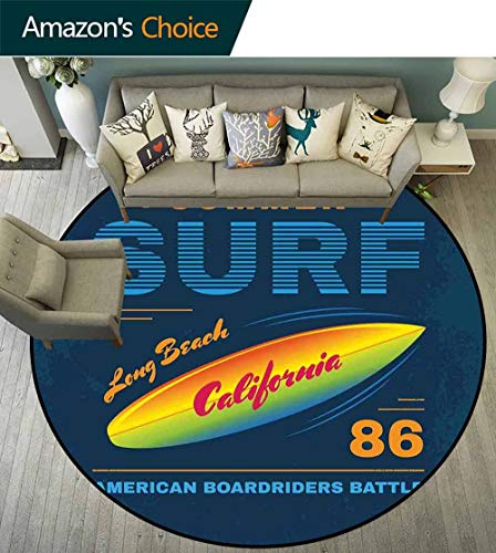 Surf Round Rug Underlay,American Boardriders Symbol Long Beach Sun Standing in Ocean Waves Illustration Stain Resistant & Easy to Clean,Navy Blue Orange,D-63 ()
