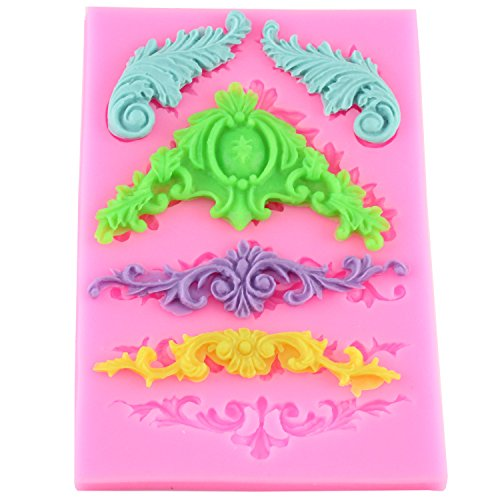 Mujiang Cake Decorative Design Pattern Silicone Fondant Molds for Baking Supplies and Decorations (Decorative Mold)