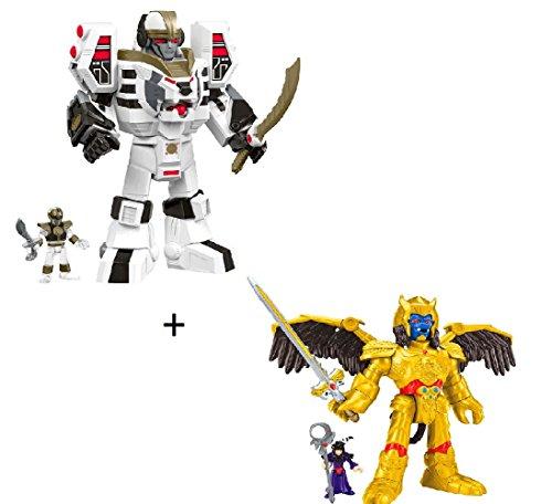 BUNDLE Imaginext Power Rangers White Ranger & Warrior Mode Tigerzord + Imaginext Power Rangers Goldar and Rita Repulsa