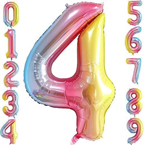 Number 4 Balloon (Tellpet Number 4 Balloon, Rainbow, 40)