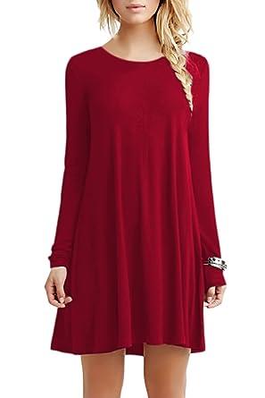 YMING Damen Langarm Kleid Lose T-Shirt Kleid Rundhals Casual Tunika Mini  Kleid 14 Farben,XS-XXXXL  Amazon.de  Bekleidung 8f912ff69b